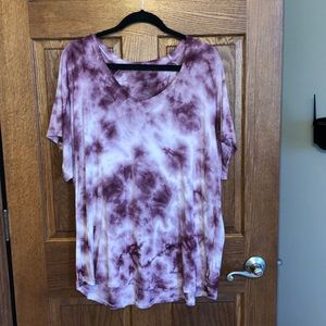 AE Soft & Sexy Burgundy & White Tie Dyed Tee NWOT